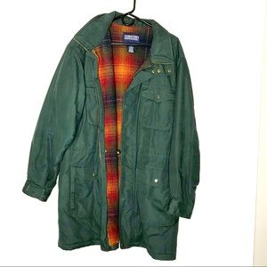 Land's End men's long green coat plaid fleece line